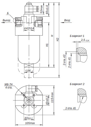 Размеры габариты 1ФГМ16-10К (25К,40К), 1ФГМ16-10М (25М, 40М), 2ФГМ16-10К (25К,40К), 2ФГМ16-10М (25М, 40М),