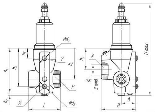 Габаритные и присоединтельные размеры гидроклапана давления БГ54-34М, Г54-34М, АГ54-34М, БГ54-34, ВГ54-34М, ДГ54-34М
