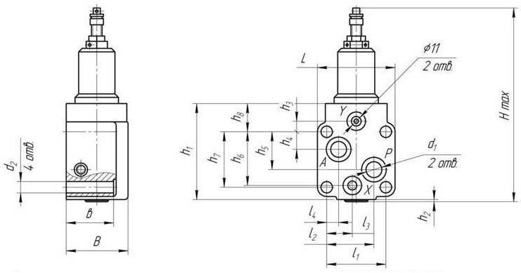 Габаритные и присоединтельные размеры гидроклапана давления ПБГ54-34М, ПГ54-34М, ПАГ54-34М, ПБГ54-34, ПВГ54-34М, ПДГ54-34М