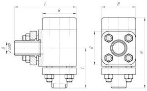 Чертёж, габаритные размеры Гидроклапан обратный Г51-31, Г51-32, Г51-33, Г51-34, Г51-35, Г51-36, Г51-37